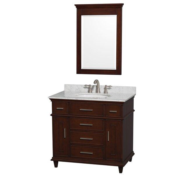 Berkeley 36 Single Dark Chestnut Bathroom Vanity Set with Mirror by Wyndham Collection