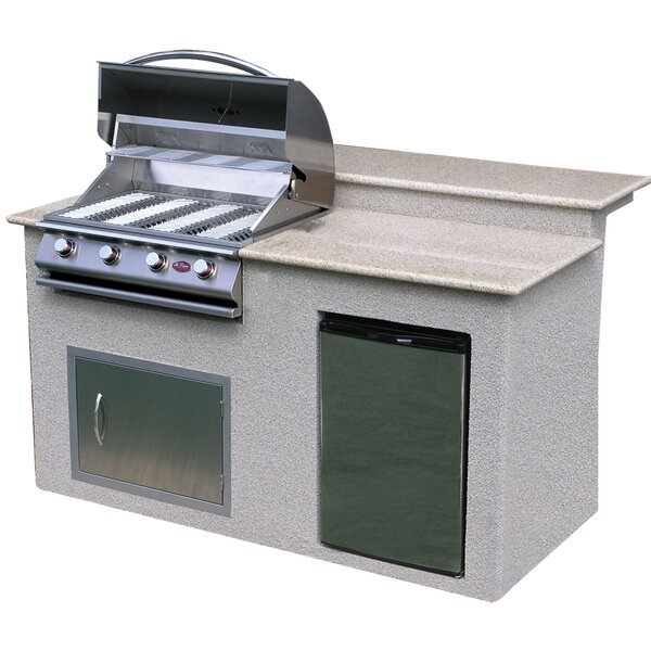 4-Burner Built-In Propane Gas Grill with Cabinet b