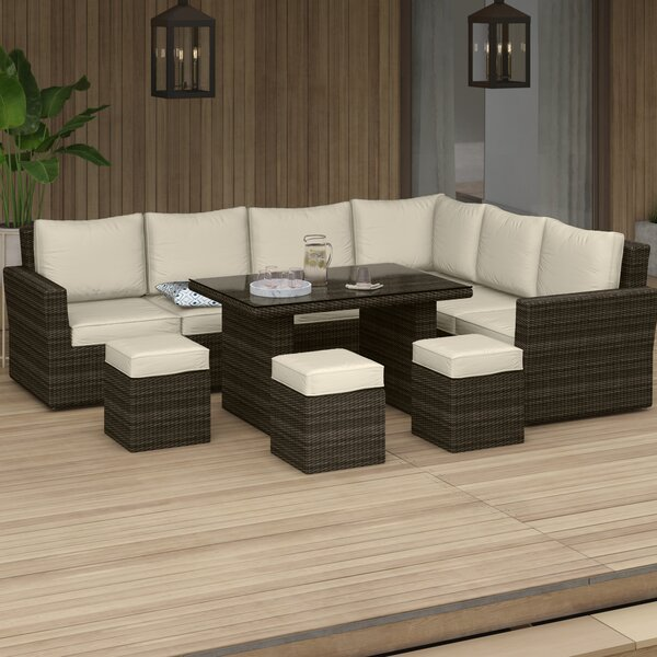 Dengler 8 Piece Rattan Sectional Seating Group Set with Cushions by Mercury Row