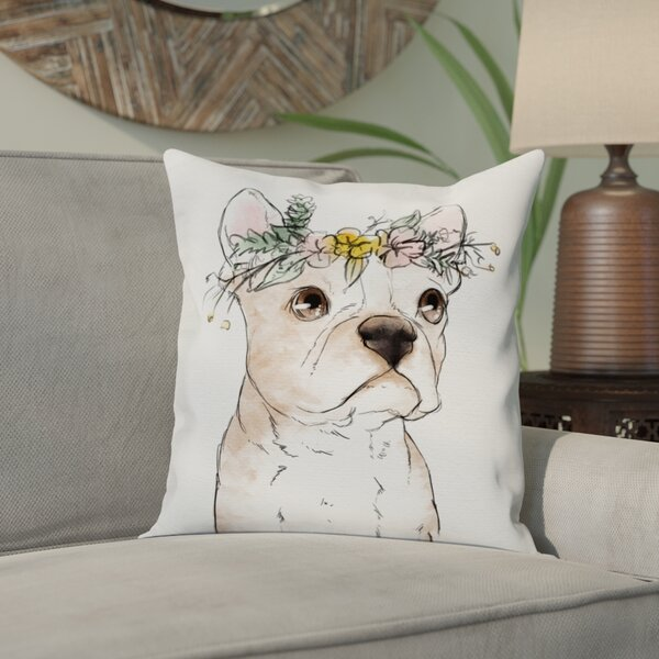 Borchers Floral Crowned Terrier Throw Pillow by Bungalow Rose