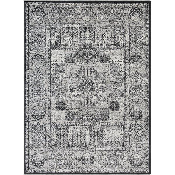 Shonnard Distressed Black/Gray Area Rug by House of Hampton