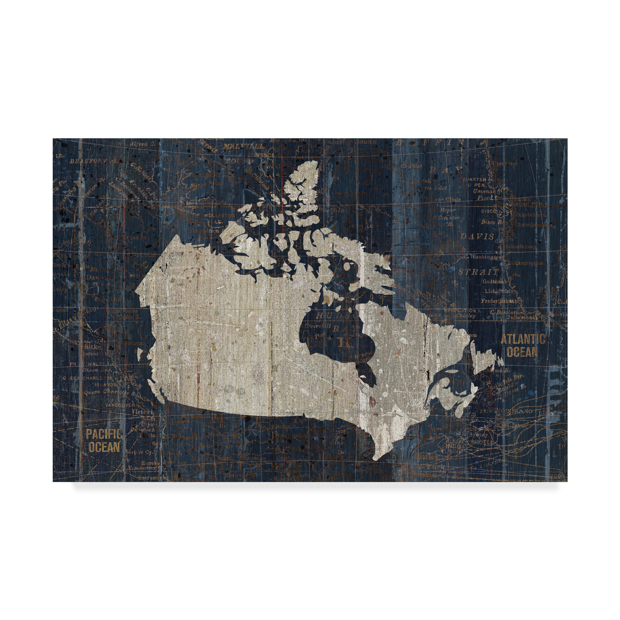 17690c61eae East Urban Home  Old World Map Blue Canada  Graphic Art Print on Wrapped  Canvas