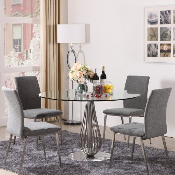 5 Piece Round Glass Dining Set by Hokku Designs