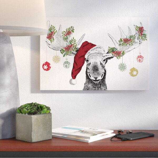 Christmas Moose Graphic Art Print On Canvas By Wrought Studio.