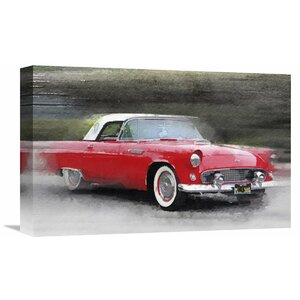'1955 Ford Thunderbird Watercolor' Painting Print on Wrapped Canvas by Naxart