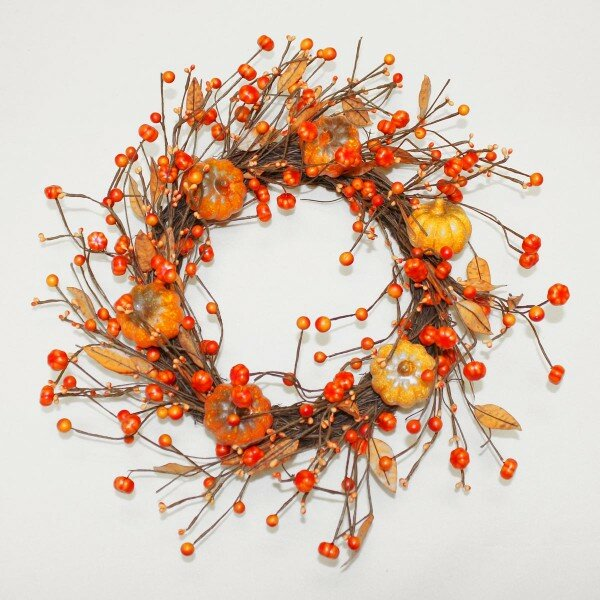 Pumpkin 18 Faux Wreath by Charlton Home