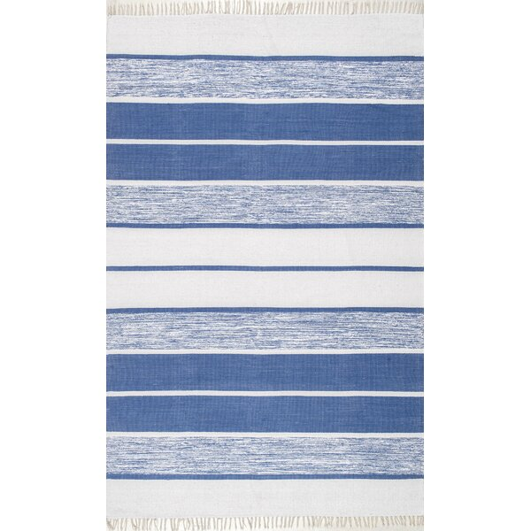 Garbo Hand-Woven Cotton Blue Area Rug by Highland Dunes