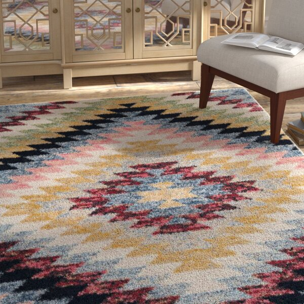 Kenedy Saffron/Ivory/Blue Area Rug by Bungalow Rose