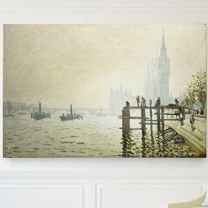 'Thames Below Westminster' by Claude Monet Painting Print on Wrapped Canvas by Wexford Home