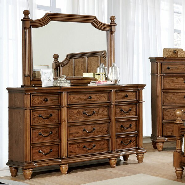 Osvaldo 12 Drawer Double Dresser with Mirror by Astoria Grand