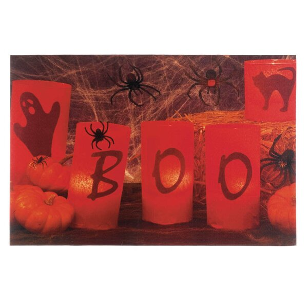 Boo Halloween LED Graphic Art on Canvas by Zingz & Thingz