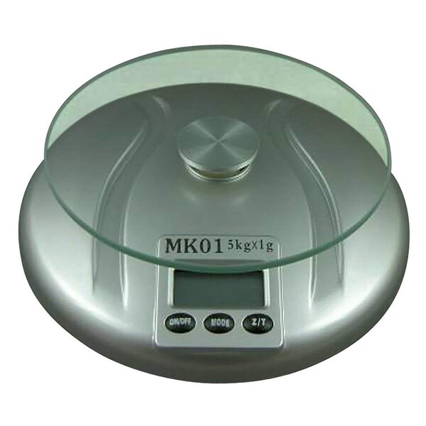 Round Tempered Glass Top Digital Kitchen Scale by Creative Home