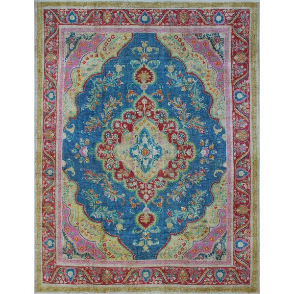 Carriage Vintage Distressed Overdyed Hand Knotted Wool Blue Area Rug by Bloomsbury Market