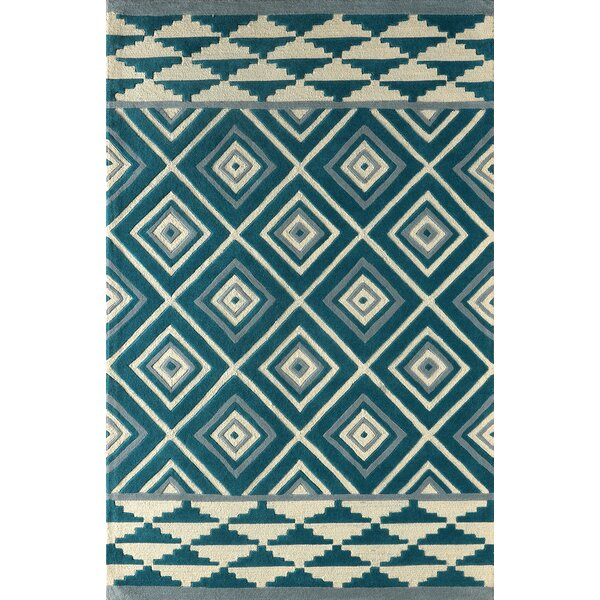 Luevano Hand-Tufted Ivory/Blue Area Rug by Brayden Studio