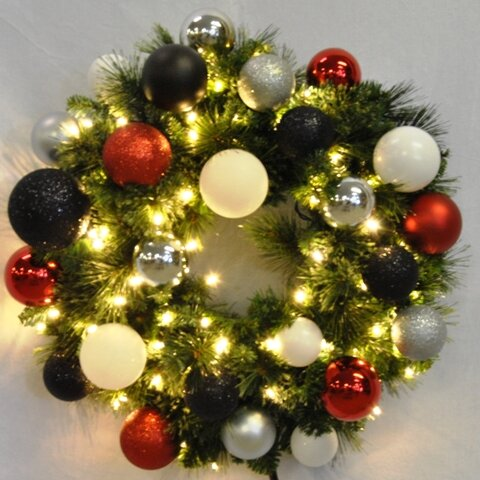 Pre-Lit Sequoia Wreath Decorated with Modern Ornament by Queens of Christmas
