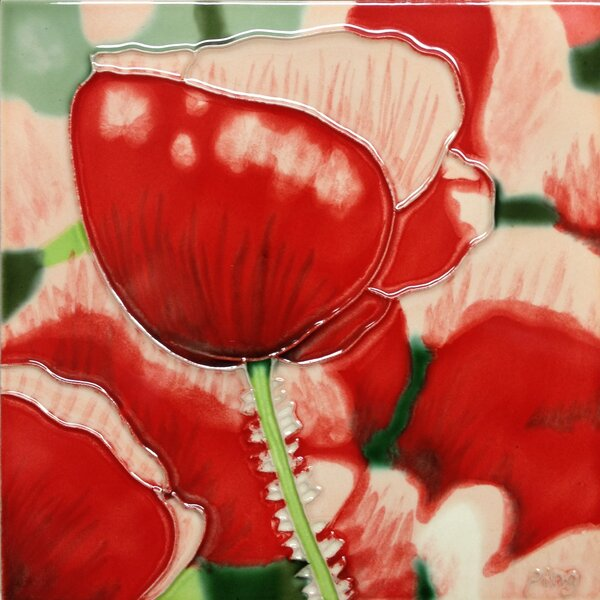 Red Poppy with White Tile Wall Decor by Continental Art Center