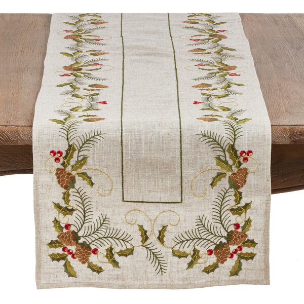 Henrik Joyeuses Fetes Embroidered Pinecone Table Runner by The Holiday Aisle