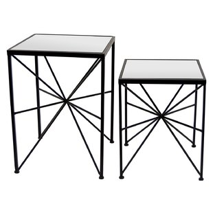 Gassett Metal and Mirror 2 Piece Nesting Tables by Ivy Bronx