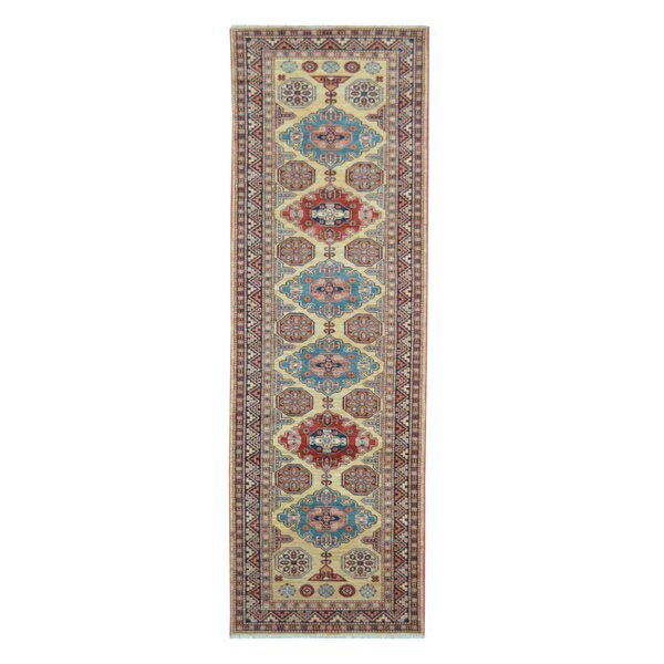 Kazak Hand-Knotted Beige/Blue Area Rug by Wildon Home ®