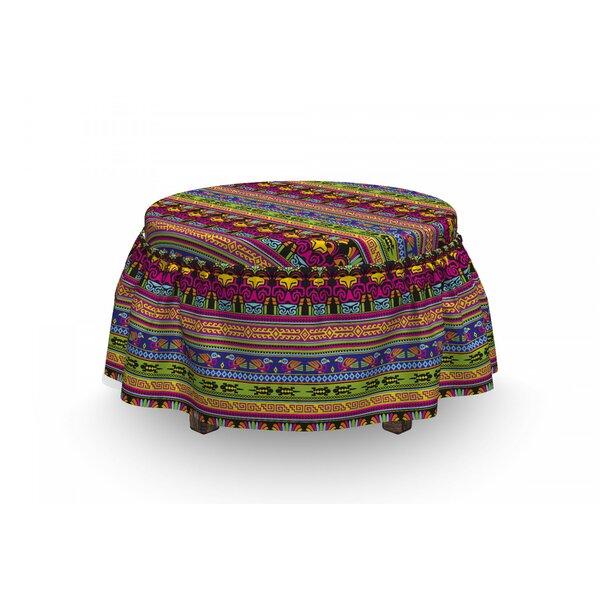 Primitive Aztec Borders 2 Piece Box Cushion Ottoman Slipcover Set By East Urban Home