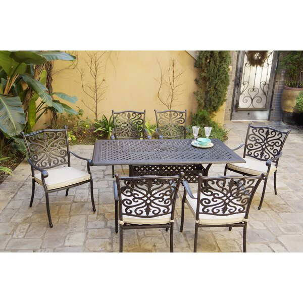 Burkhardt 7 Piece Dining Set with Cushions by Canora Grey