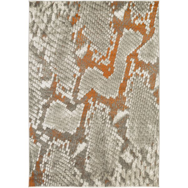 Fujii Light Gray/Orange Area Rug by World Menagerie