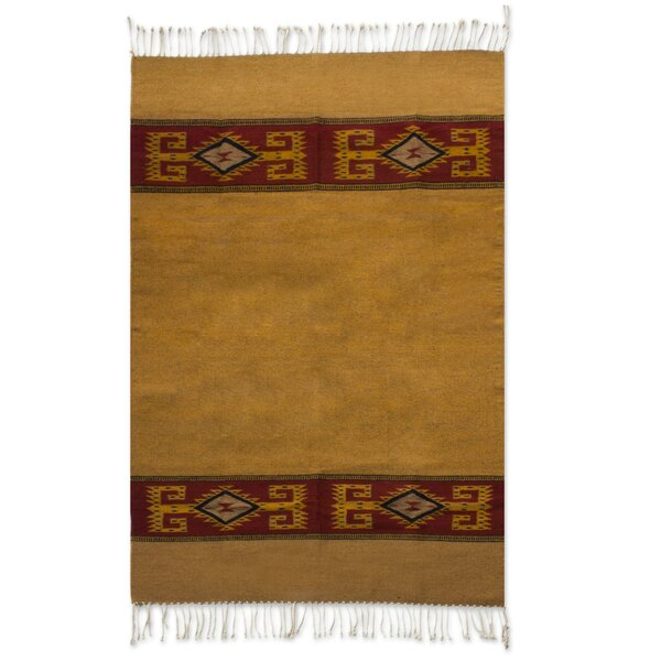 Weare Hand Woven Brown/Yellow Area Rug by Millwood Pines