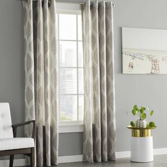 Wrought Studio Baronne Geometric Semi Sheer Grommet Curtain Panels Reviews Wayfair