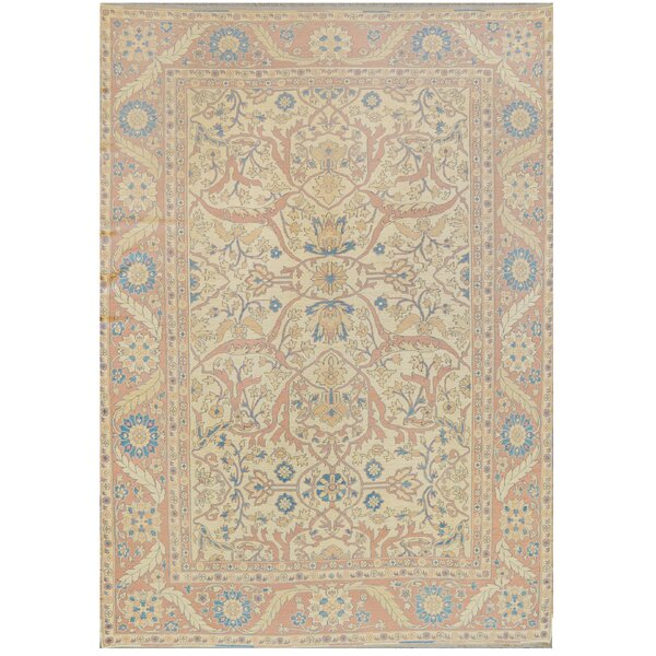 One-of-a-Kind Sumack Fine Hand-Knotted Wool Beige/Terracotta Indoor Area Rug by Mansour