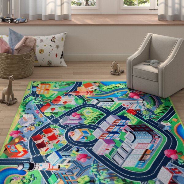 Freeport Blue/Teal Area Rug by Zoomie Kids