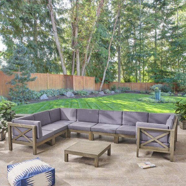 Crescent Outdoor 9 Piece Sectional Seating Group by Highland Dunes