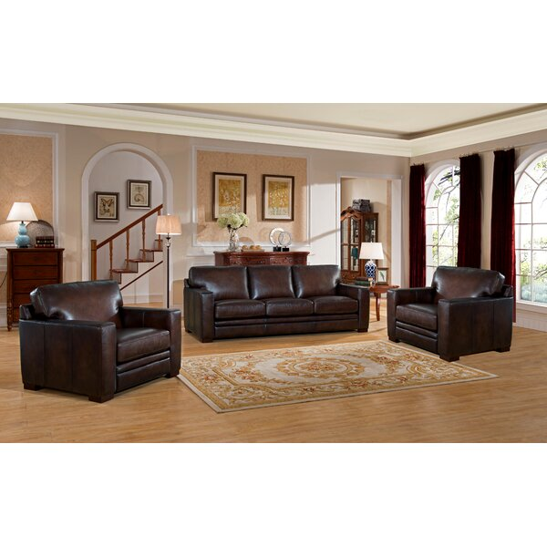 Mcdonald Leather 3 Piece Living Room Set by World Menagerie
