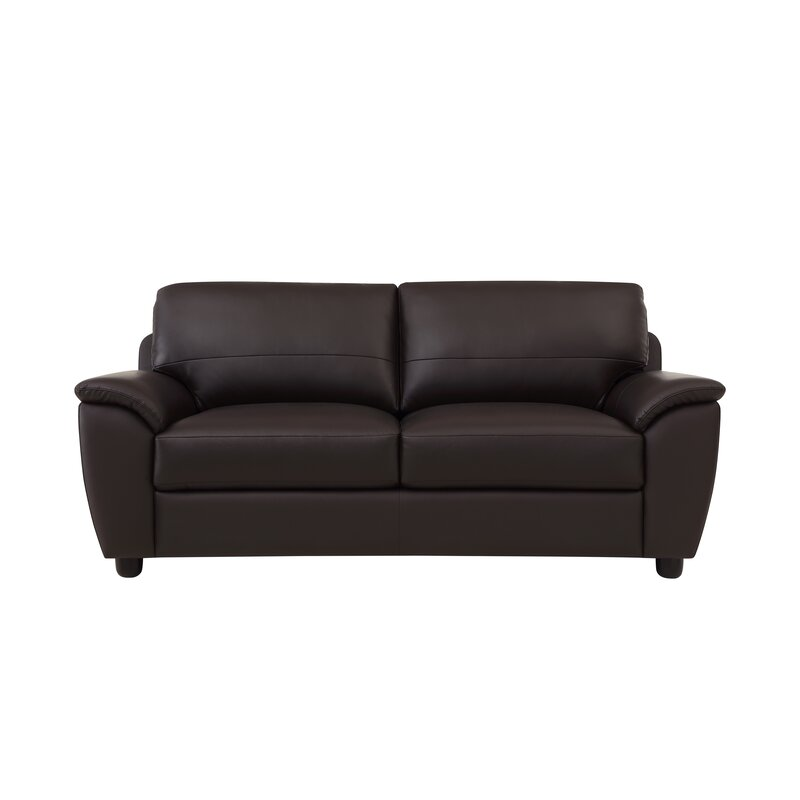 Red Barrel Studio Riegel Leather 80 inches Pillow Top Arms Sofa