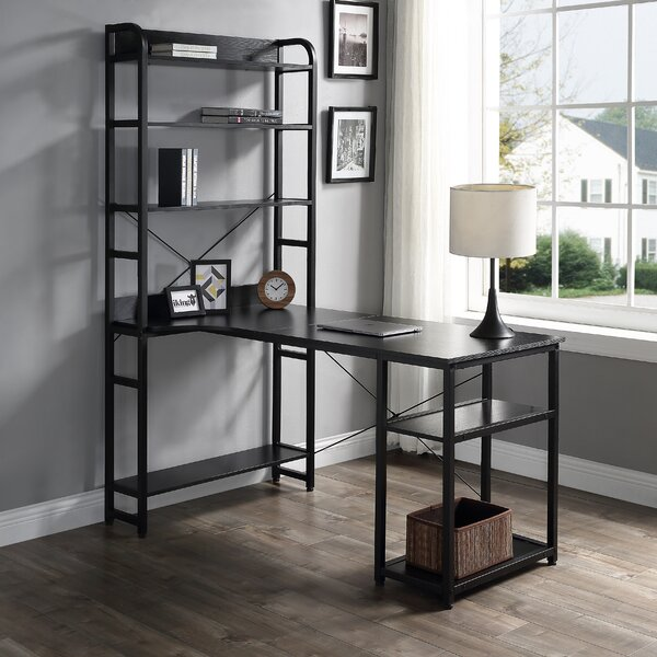 Ariyahna L-Shape Leaning Desk with Hutch