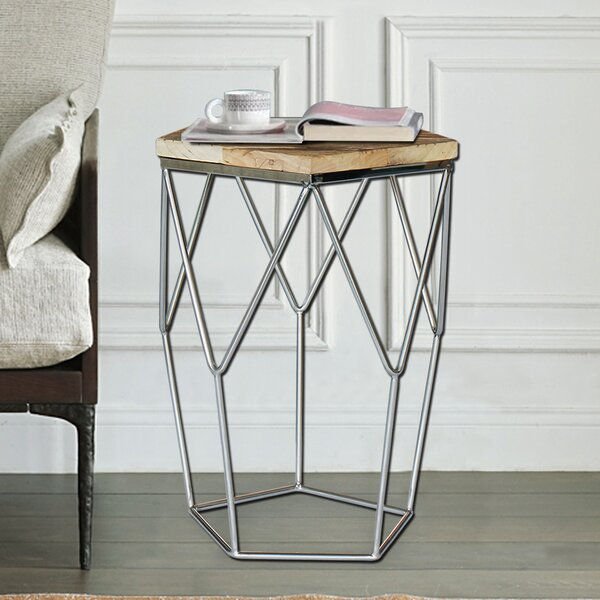Pentagono Lato Reclaimed Elm Wood End Table by Magari Magari
