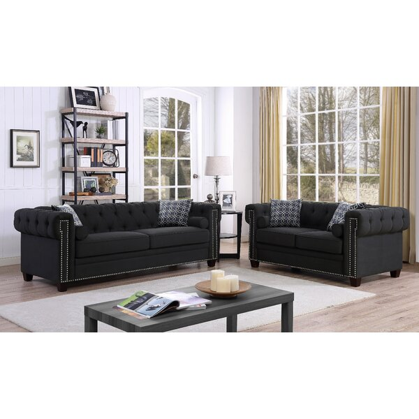 Quan Chesterfield Nailhead 2 Piece Living Room Set by Canora Grey