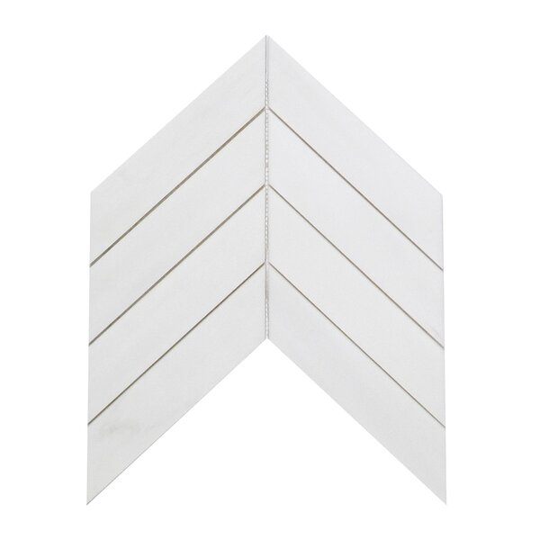 Soft Touch Chevron 2 x 8 Marble Mosaic Tile in White by Seven Seas