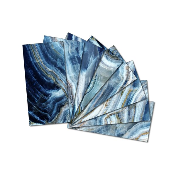 3 x 6 Beveled Glass Subway Tile in Blue by Upscale Designs by EMA
