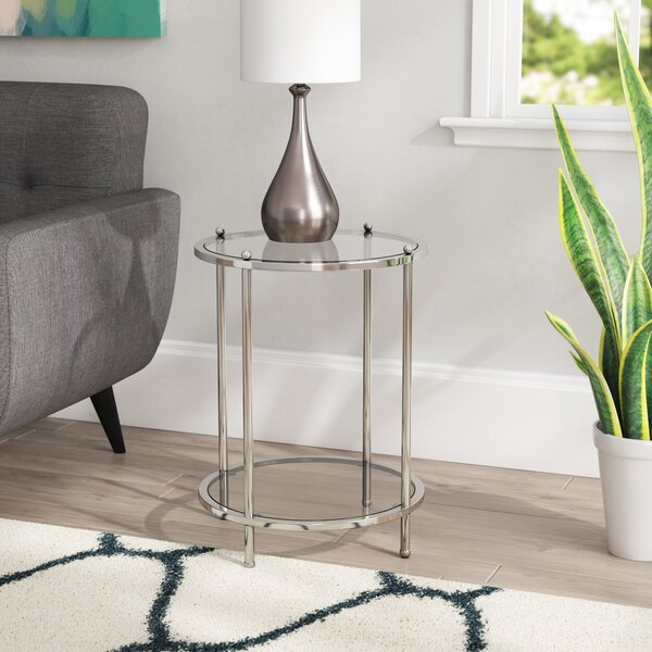 Cathleen Glass Top End Table With Storage By Willa Arlo Interiors