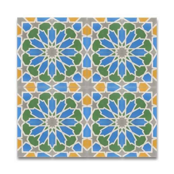 Bahja 8 x 8 Handmade  Cement Tile in Multicolor by Moroccan Mosaic