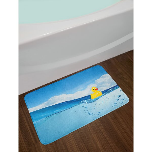 Rubber Duck Little Duckling Toy Swimming in Pond Pool Sea Sunny Day Floating on Water Non-Slip Plush Bath Rug by East Urban Home