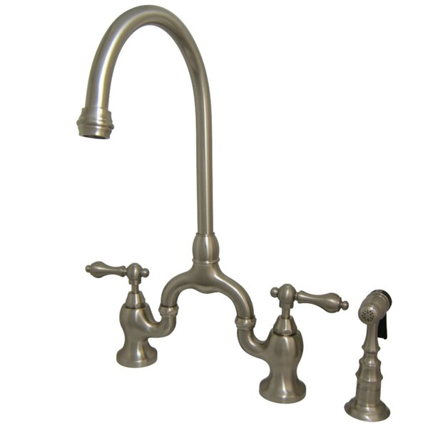 English Country Bridge Faucet with Side Spray by Kingston Brass