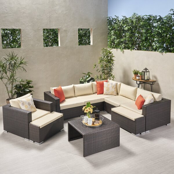 Guccione Outdoor V Shaped 9 Piece Sectional Seating Group with Cushions by Orren Ellis