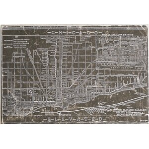 'Chicago Railroad Map Leather' Graphic Art on Wrapped Canvas by Williston Forge