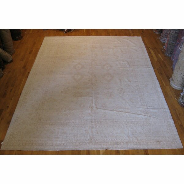One-of-a-Kind Hand-Knotted Beige 8'5 x 11'10 Wool Area Rug