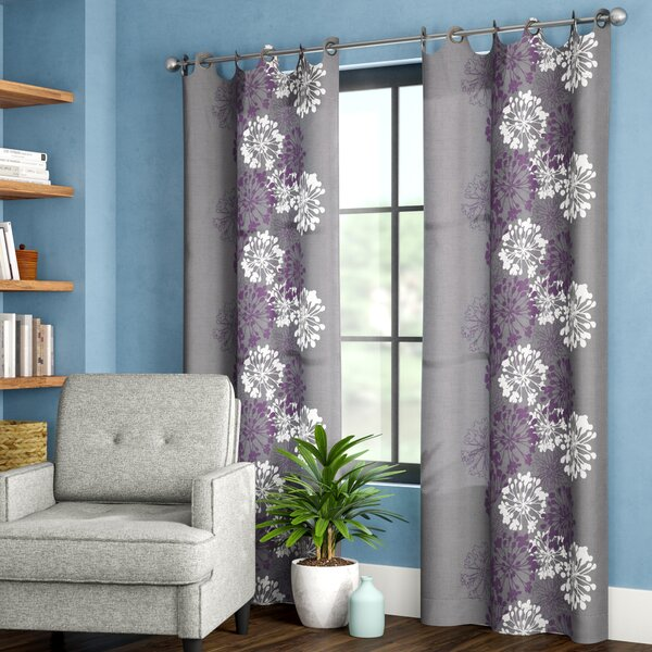 Levi Nature/Floral Semi-Sheer Grommet Single Curtain Panel by Zipcode Design