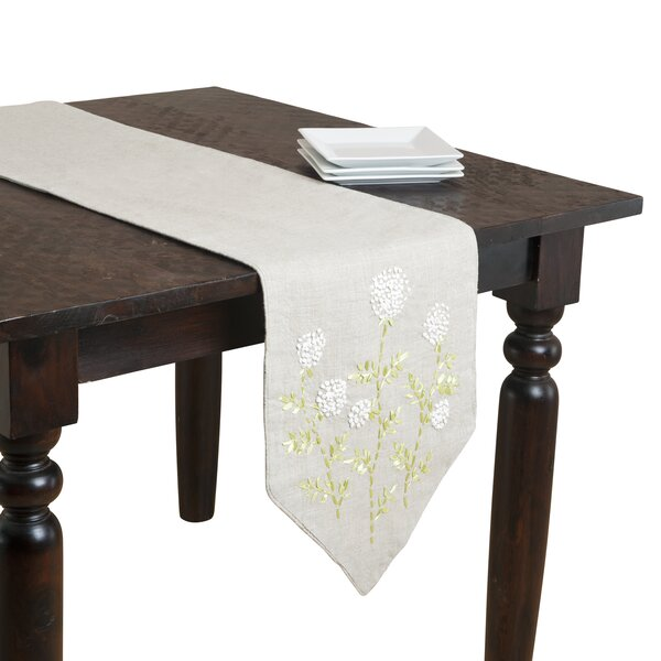 Ribbon Embroidered Runner by Saro