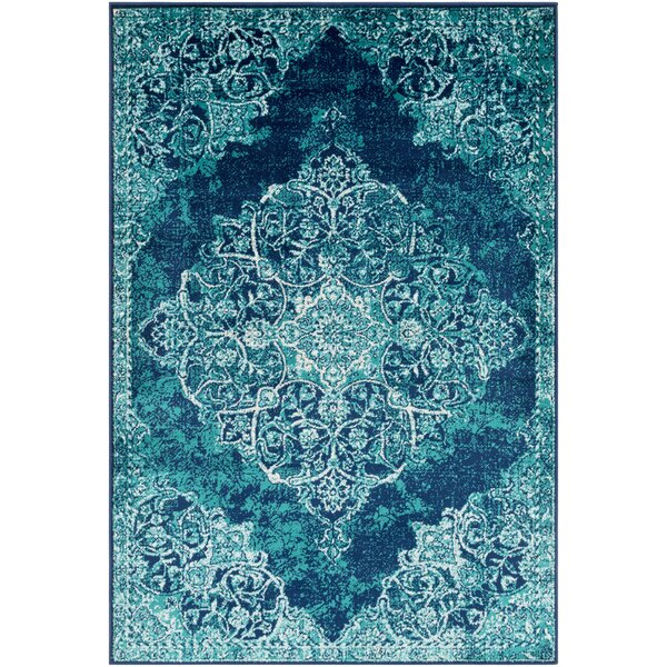 Ramsay Overdyed Vintage Cyan/Dark Blue Area Rug by Bungalow Rose