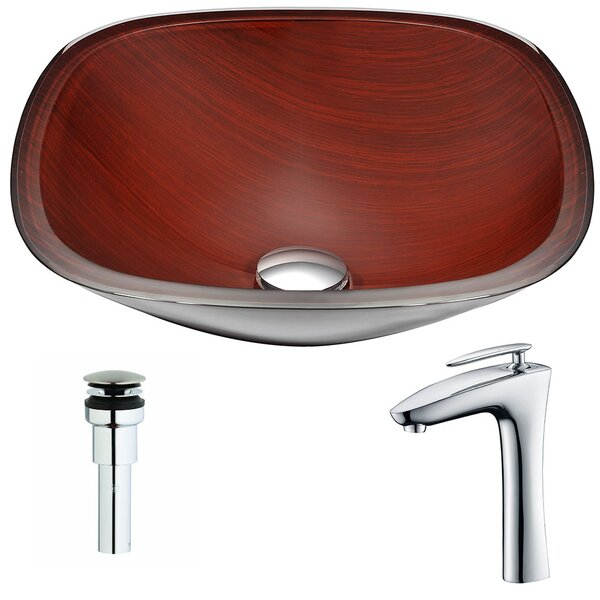 Cansa Glass Circular Vessel Bathroom Sink with Faucet by ANZZI