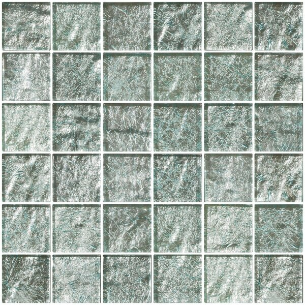 2 x 2 Glass Mosaic Tile in Iced Aqua Steel Blue by Susan Jablon